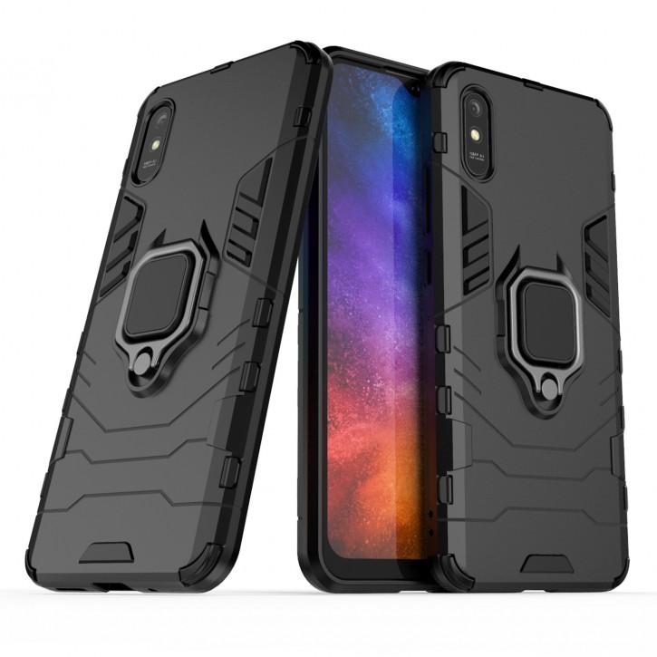 COOVY® Cover für Xiaomi Redmi 9A Bumper Case, Plastik + TPU-Silikon, extra stark, Anti-Shock, Stand Funktion + Magnethalter kompatibel |