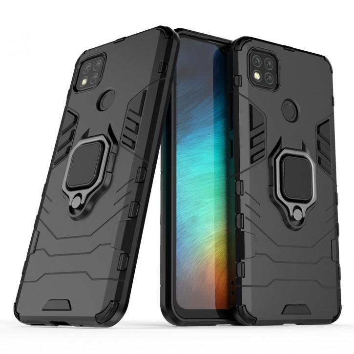 COOVY® Cover für Xiaomi Redmi 9c Bumper Case, Plastik + TPU-Silikon, extra stark, Anti-Shock, Stand Funktion + Magnethalter kompatibel |