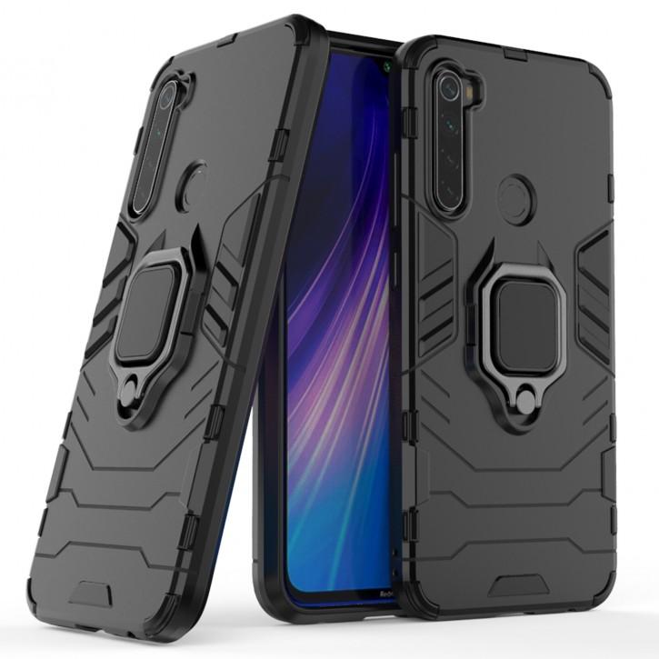 COOVY® Cover für Xiaomi Redmi Note 8 Bumper Case, Plastik + TPU-Silikon, extra stark, Anti-Shock, Stand Funktion + Magnethalter kompatibel |