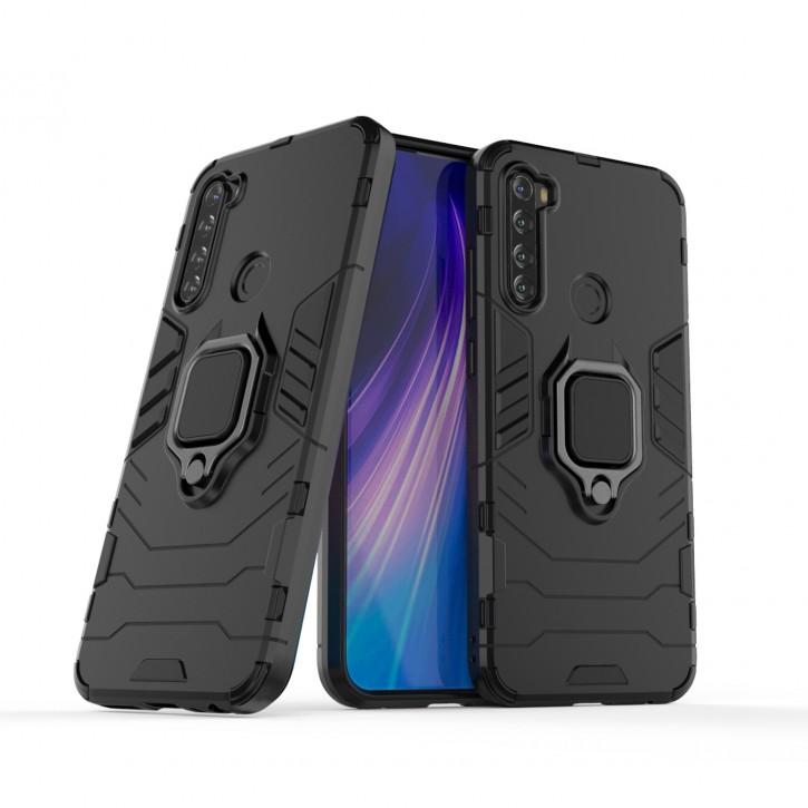 COOVY® Cover für Xiaomi Redmi Note 8T Bumper Case, Plastik + TPU-Silikon, extra stark, Anti-Shock, Stand Funktion + Magnethalter kompatibel |