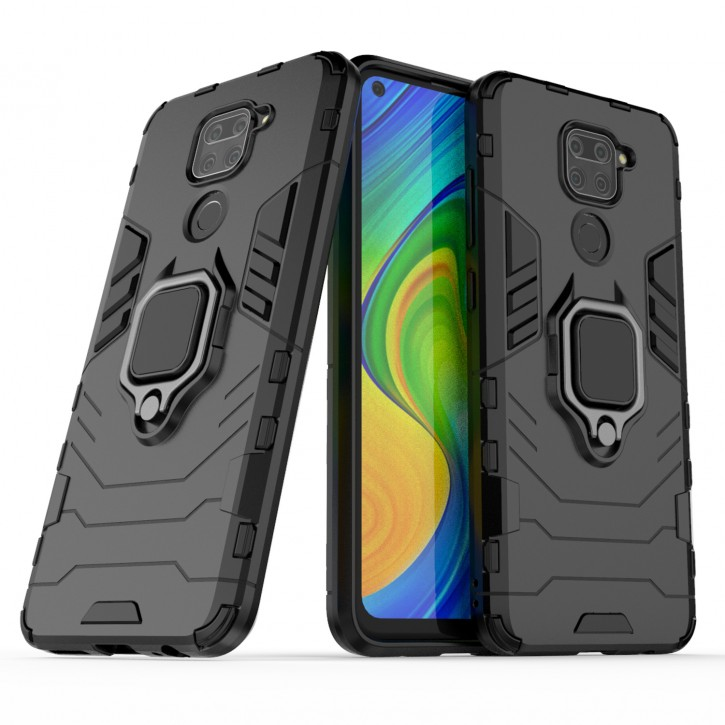 COOVY® Cover für Xiaomi Redmi Note 9 Bumper Case, Plastik + TPU-Silikon, extra stark, Anti-Shock, Stand Funktion + Magnethalter kompatibel |