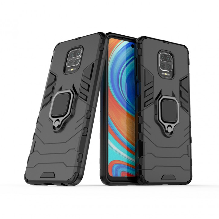 COOVY® Cover für Xiaomi Redmi Note 9S / Note 9 Pro / Note 9 Pro Max Bumper Case, Plastik + TPU-Silikon, extra stark, Anti-Shock, Stand Funktion + Magnethalter kompatibel |