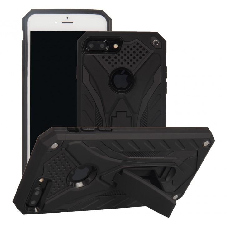 COOVY® Cover für Apple iPhone 7 + plus Bumper Case, Hülle Doppelschicht aus Plastik + TPU-Silikon, extra stark, Anti-Shock, Standfunktion  