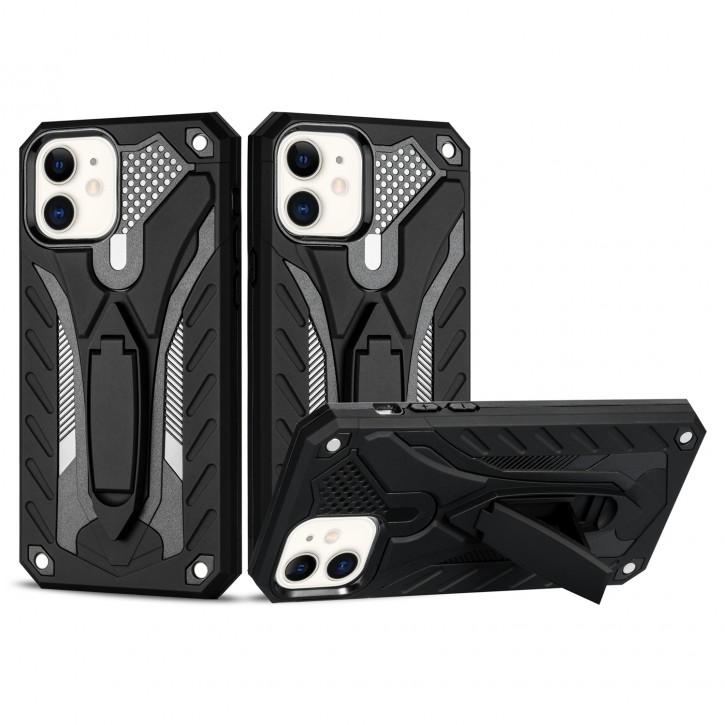 COOVY® Cover für Apple iPhone 12 mini 5.4 Bumper Case, Hülle Doppelschicht aus Plastik + TPU-Silikon, extra stark, Anti-Shock, Standfunktion |
