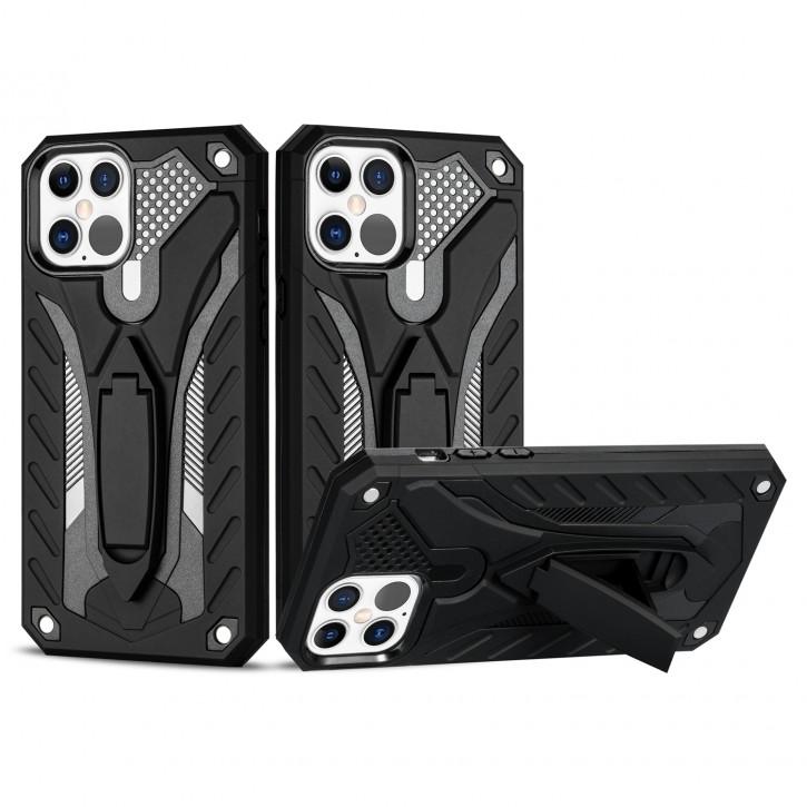 COOVY® Cover für Apple iPhone 12/12 pro 6.1 Bumper Case, Hülle Doppelschicht aus Plastik + TPU-Silikon, extra stark, Anti-Shock, Standfunktion |