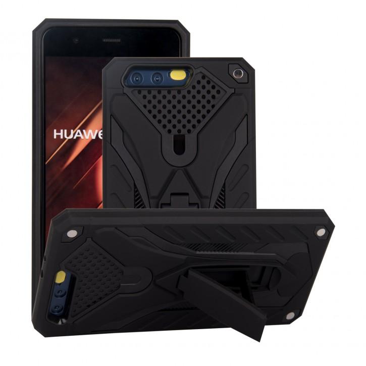 COOVY® Cover für Huawei P10 Bumper Case, Hülle Doppelschicht aus Plastik + TPU-Silikon, extra stark, Anti-Shock, Standfunktion |