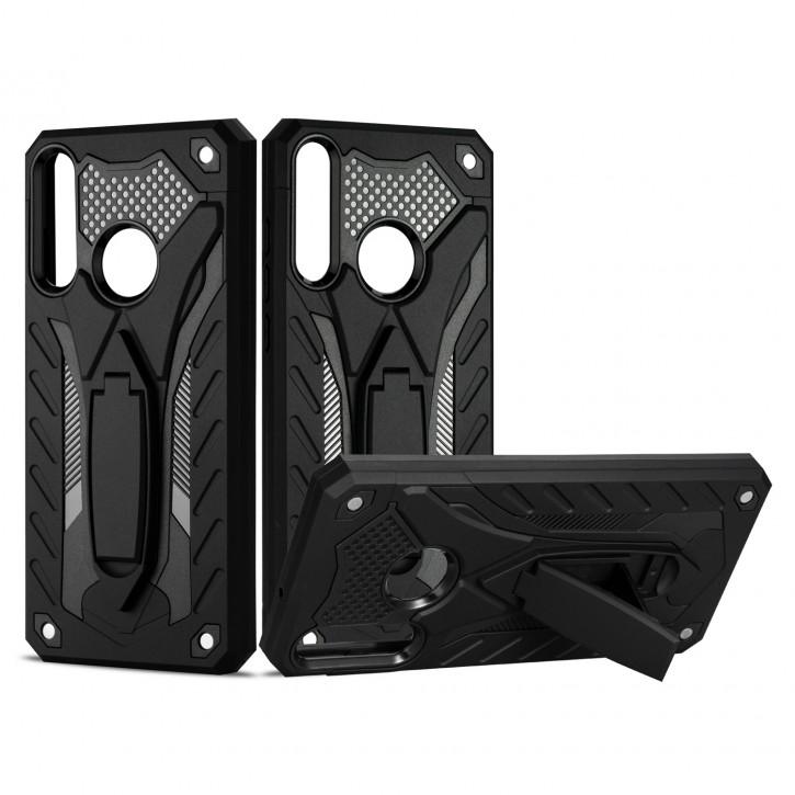 COOVY® Cover für Huawei Y6p Bumper Case, Hülle Doppelschicht aus Plastik + TPU-Silikon, extra stark, Anti-Shock, Standfunktion |