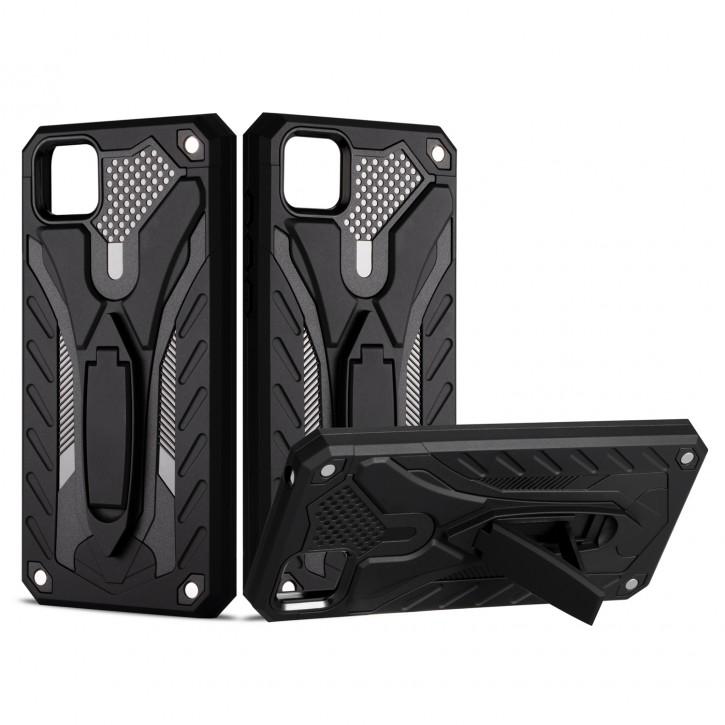 COOVY® Cover für Huawei Y5p / Honor 9S Bumper Case, Hülle Doppelschicht aus Plastik + TPU-Silikon, extra stark, Anti-Shock, Standfunktion  