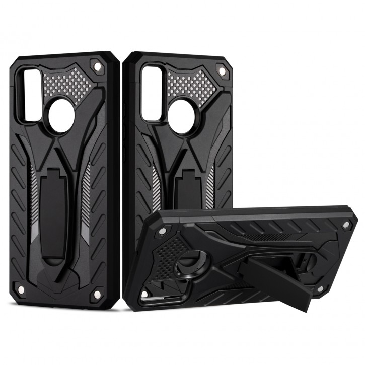 COOVY® Cover für Huawei P Smart 2020 Bumper Case, Hülle Doppelschicht aus Plastik + TPU-Silikon, extra stark, Anti-Shock, Standfunktion  