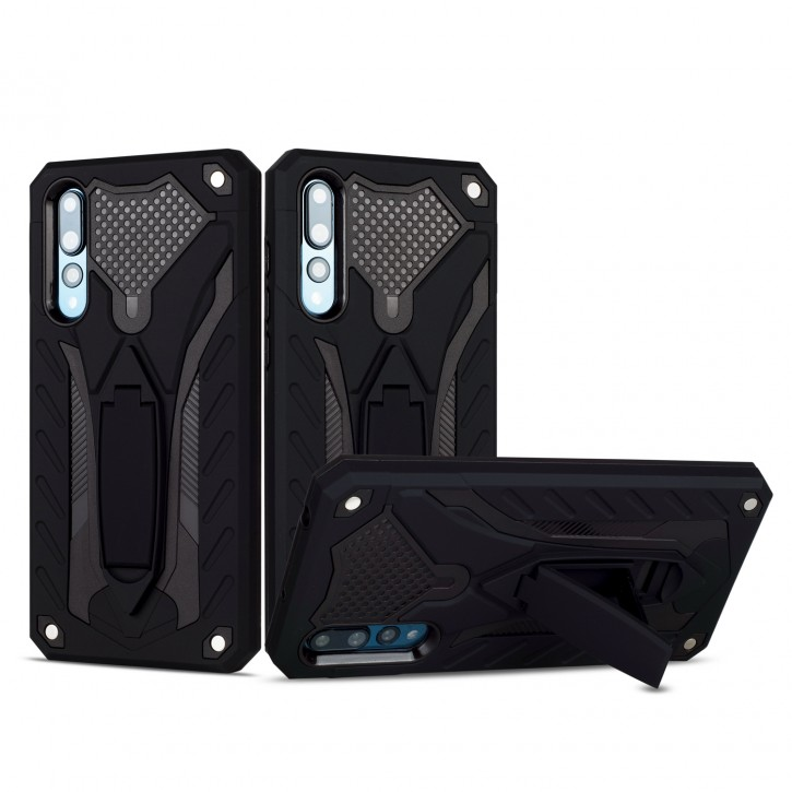 COOVY® Cover für Huawei P20 pro Bumper Case, Hülle Doppelschicht aus Plastik + TPU-Silikon, extra stark, Anti-Shock, Standfunktion |