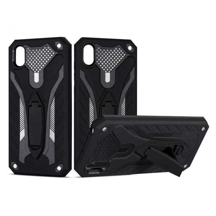 COOVY® Cover für Huawei Y5 2019 Bumper Case, Hülle Doppelschicht aus Plastik + TPU-Silikon, extra stark, Anti-Shock, Standfunktion |