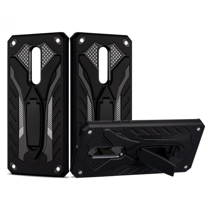 COOVY® Cover für Oneplus 7 Pro / 7T Pro Bumper Case, Hülle Doppelschicht aus Plastik + TPU-Silikon, extra stark, Anti-Shock, Standfunktion |