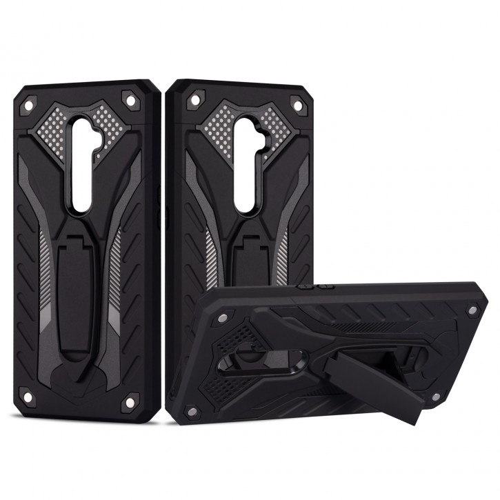 COOVY® Cover für Oppo Reno 2 Bumper Case, Hülle Doppelschicht aus Plastik + TPU-Silikon, extra stark, Anti-Shock, Standfunktion |