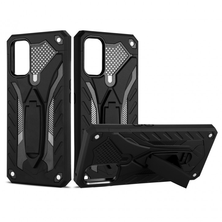 COOVY® Cover für Oppo Realme 7 Pro Bumper Case, Hülle Doppelschicht aus Plastik + TPU-Silikon, extra stark, Anti-Shock, Standfunktion |