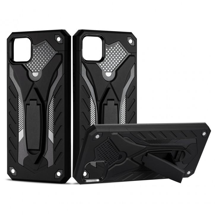 COOVY® Cover für Oppo Realme C11 Bumper Case, Hülle Doppelschicht aus Plastik + TPU-Silikon, extra stark, Anti-Shock, Standfunktion  