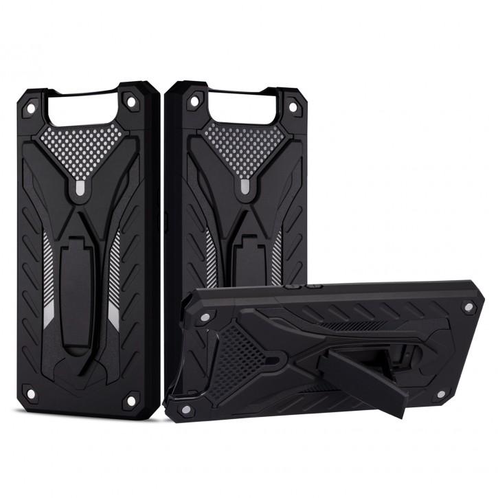 COOVY® Cover für Samsung Galaxy A90 5G SM-A908B Bumper Case, Hülle Doppelschicht aus Plastik + TPU-Silikon, extra stark, Anti-Shock, Standfunktion |