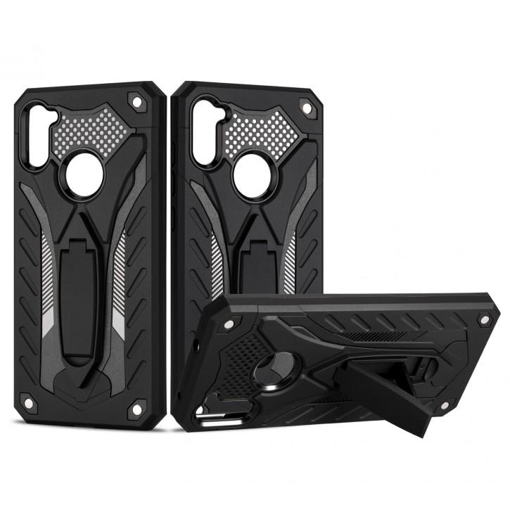 COOVY® Cover für Samsung Galaxy A11 SM-A115F/DS /  M11 SM-M115F/DSN Bumper Case, Hülle Doppelschicht aus Plastik + TPU-Silikon, extra stark, Anti-Shock, Standfunktion |
