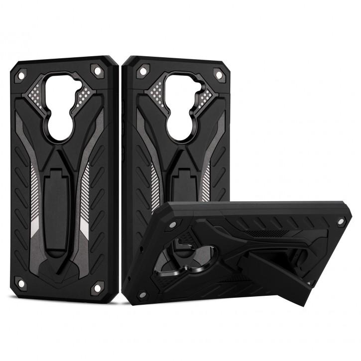 COOVY® Cover für Xiaomi Redmi Note 9 Bumper Case, Hülle Doppelschicht aus Plastik + TPU-Silikon, extra stark, Anti-Shock, Standfunktion |