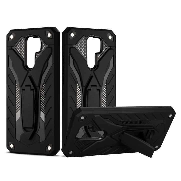 COOVY® Cover für Xiaomi Redmi 9 Bumper Case, Hülle Doppelschicht aus Plastik + TPU-Silikon, extra stark, Anti-Shock, Standfunktion |