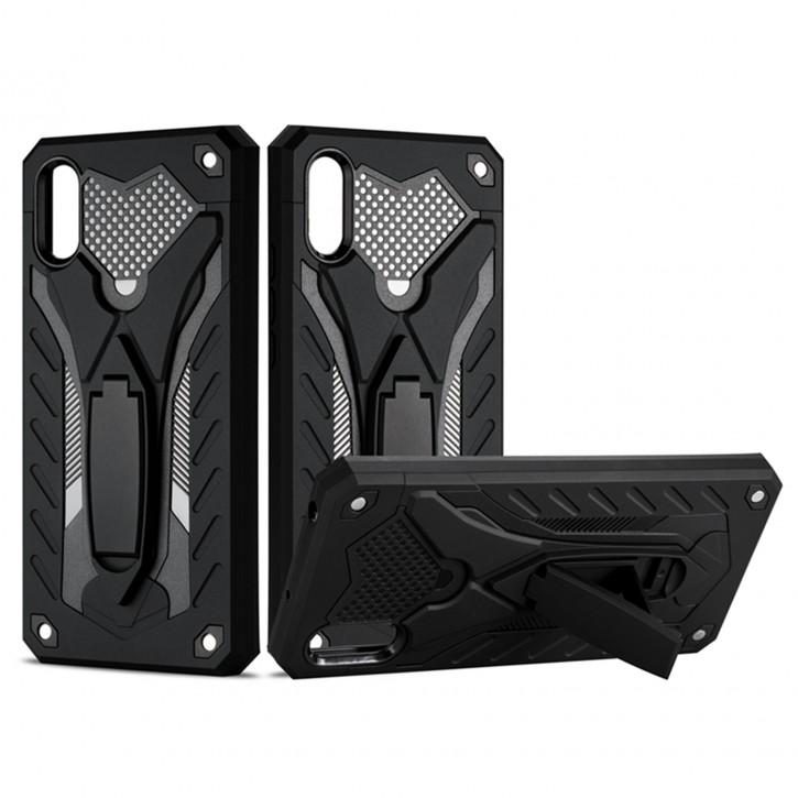COOVY® Cover für Xiaomi Redmi 9A Bumper Case, Hülle Doppelschicht aus Plastik + TPU-Silikon, extra stark, Anti-Shock, Standfunktion |
