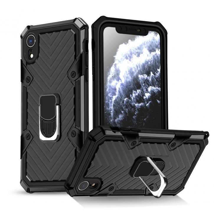 COOVY® Cover für Apple iPhone Xr Hülle Case PC + TPU-Silikon, extra stark, Anti-Shock, Stand Funktion + Haltering + Magnethalter kompatibel |