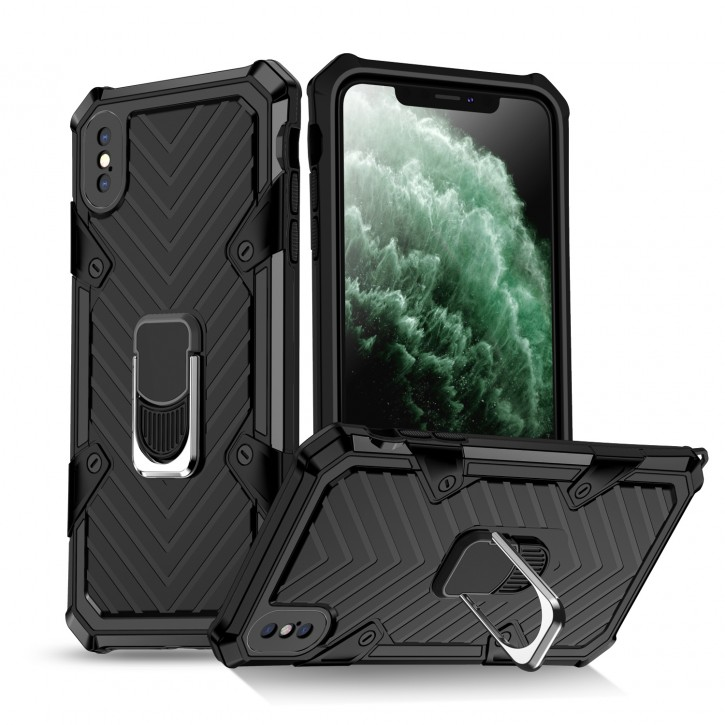 COOVY® Cover für Apple iPhone Xs Max Hülle Case PC + TPU-Silikon, extra stark, Anti-Shock, Stand Funktion + Haltering + Magnethalter kompatibel |