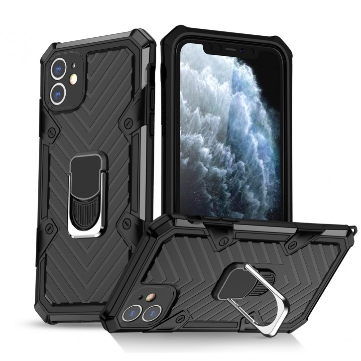 COOVY® Cover für Apple iPhone 11 Hülle Case PC + TPU-Silikon, extra stark, Anti-Shock, Stand Funktion + Haltering + Magnethalter kompatibel |