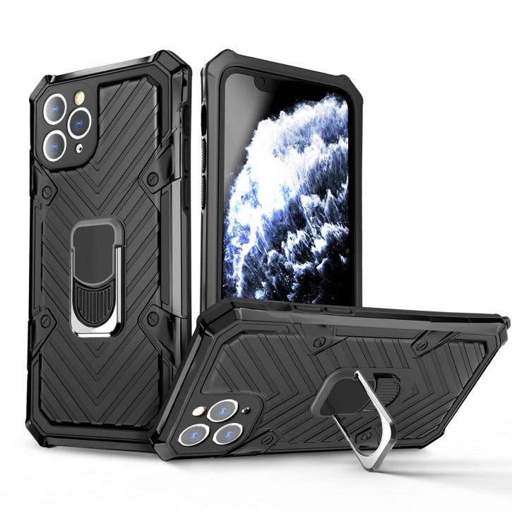 COOVY® Cover für Apple iPhone 11 pro Hülle Case PC + TPU-Silikon, extra stark, Anti-Shock, Stand Funktion + Haltering + Magnethalter kompatibel |