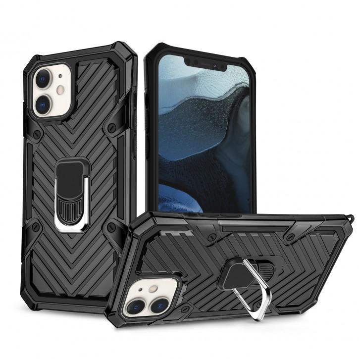 COOVY® Cover für Apple iPhone 12 mini 5.4 Hülle Case PC + TPU-Silikon, extra stark, Anti-Shock, Stand Funktion + Haltering + Magnethalter kompatibel |