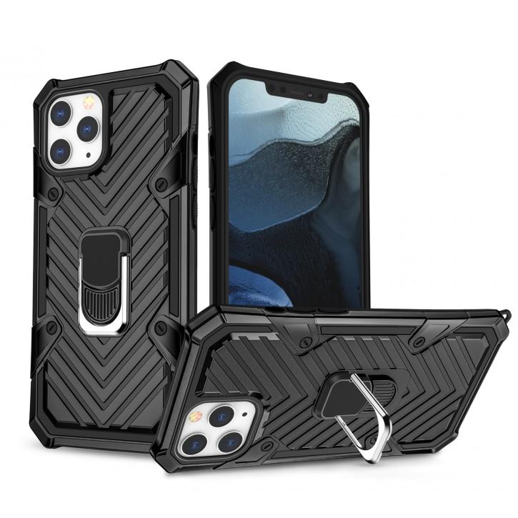 COOVY® Cover für Apple iPhone 12 pro Max 6.7 Hülle Case PC + TPU-Silikon, extra stark, Anti-Shock, Stand Funktion + Haltering + Magnethalter kompatibel |