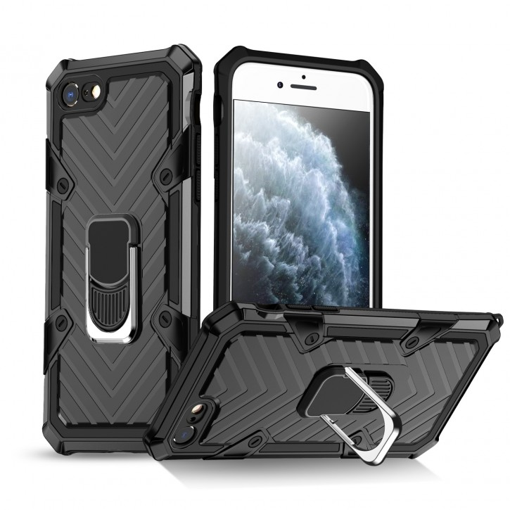 COOVY® Cover für iPhone 7/8/SE 2020 Hülle Case PC + TPU-Silikon, extra stark, Anti-Shock, Stand Funktion + Haltering + Magnethalter kompatibel |