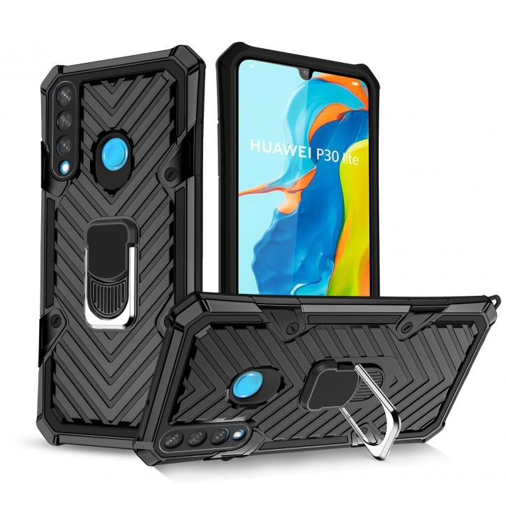 COOVY® Cover für Huawei P30 lite/  NOVA 4E Hülle Case PC + TPU-Silikon, extra stark, Anti-Shock, Stand Funktion + Haltering + Magnethalter kompatibel |