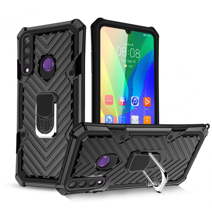 COOVY® Cover für Huawei Y6p Hülle Case PC + TPU-Silikon, extra stark, Anti-Shock, Stand Funktion + Haltering + Magnethalter kompatibel |