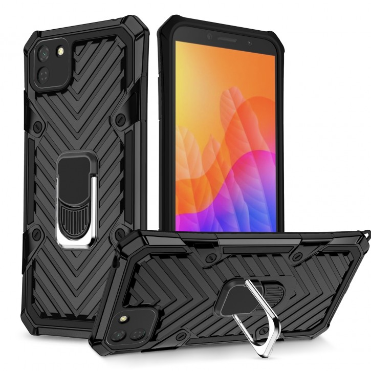 COOVY® Cover für Huawei Y5p / Honor 9S Hülle Case PC + TPU-Silikon, extra stark, Anti-Shock, Stand Funktion + Haltering + Magnethalter kompatibel  