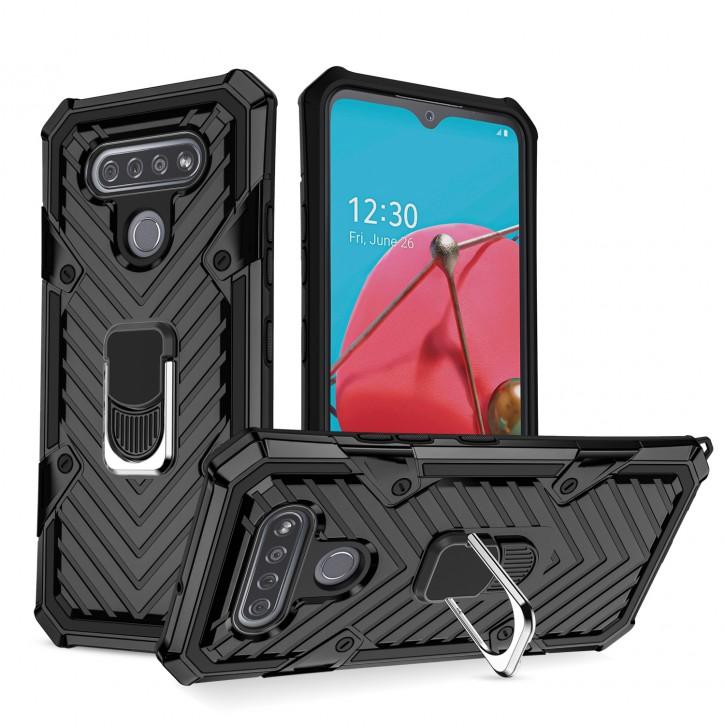 COOVY® Cover für LG K51S Hülle Case PC + TPU-Silikon, extra stark, Anti-Shock, Stand Funktion + Haltering + Magnethalter kompatibel |