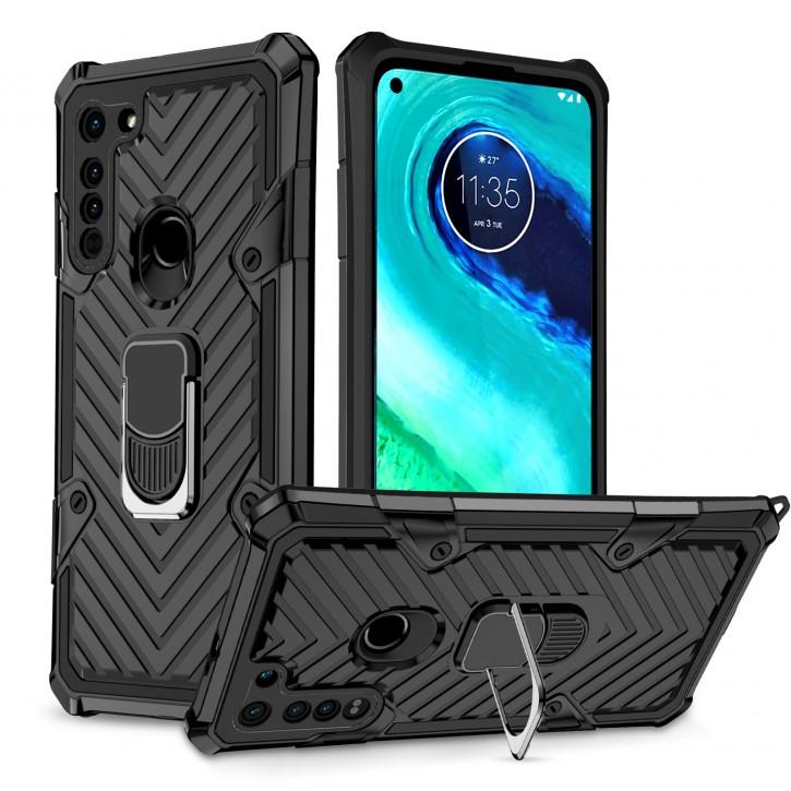 COOVY® Cover für Motorola Moto G8 Hülle Case PC + TPU-Silikon, extra stark, Anti-Shock, Stand Funktion + Haltering + Magnethalter kompatibel |