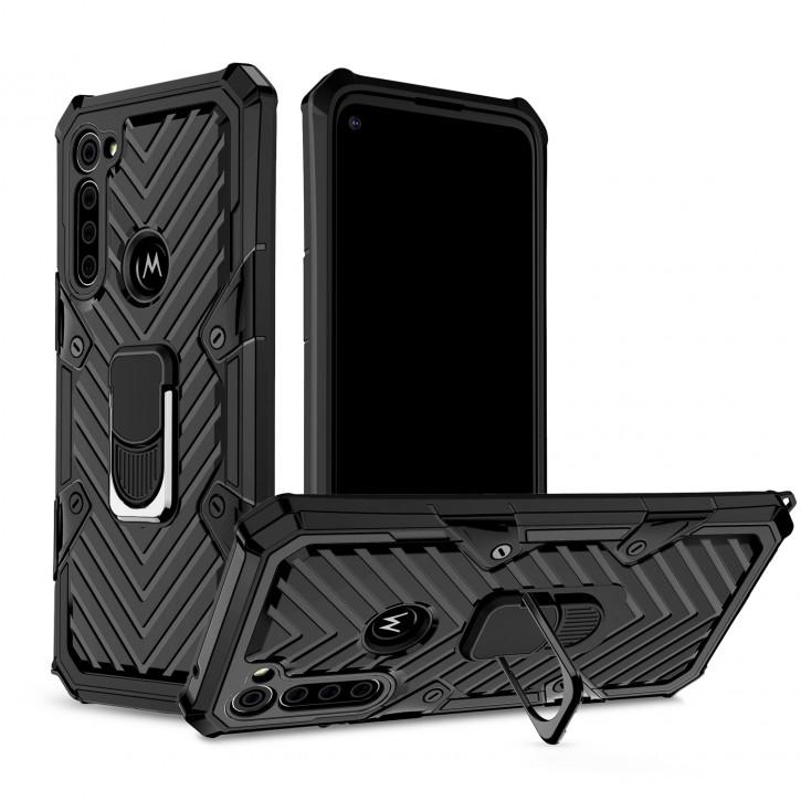COOVY® Cover für Motorola Moto G8 Power Hülle Case PC + TPU-Silikon, extra stark, Anti-Shock, Stand Funktion + Haltering + Magnethalter kompatibel |