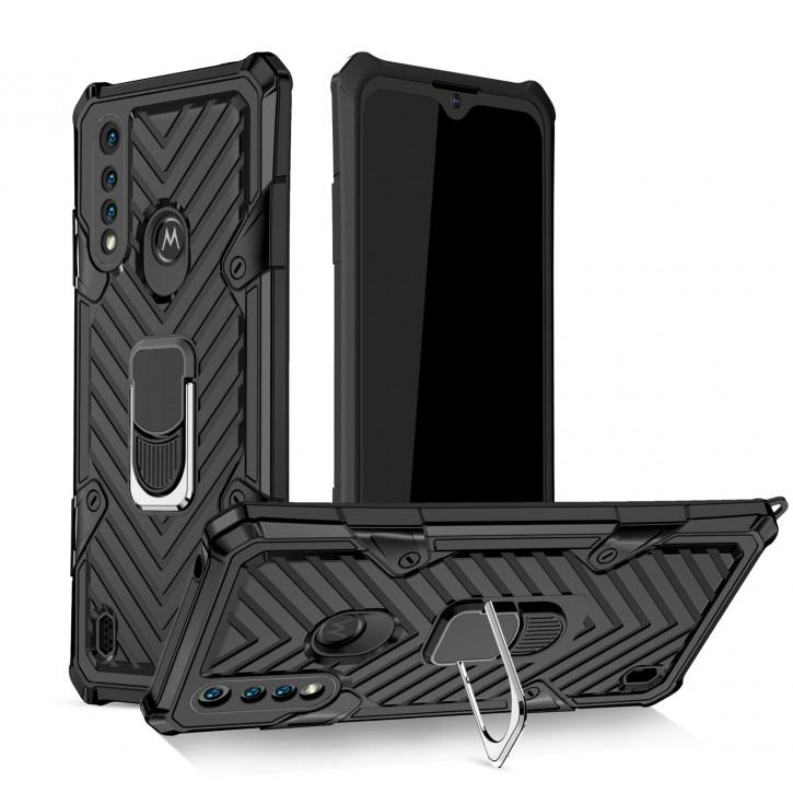 COOVY® Cover für Motorola Moto G8 Power Lite Hülle Case PC + TPU-Silikon, extra stark, Anti-Shock, Stand Funktion + Haltering + Magnethalter kompatibel |