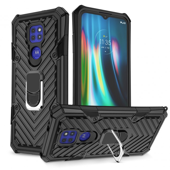 COOVY® Cover für Motorola Moto G9 Play / E7 Plus Hülle Case PC + TPU-Silikon, extra stark, Anti-Shock, Stand Funktion + Haltering + Magnethalter kompatibel |