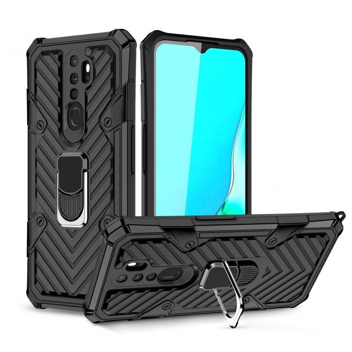 COOVY® Cover für Oppo A9 2020 Hülle Case PC + TPU-Silikon, extra stark, Anti-Shock, Stand Funktion + Haltering + Magnethalter kompatibel |