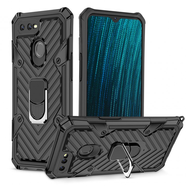 COOVY® Cover für Oppo A7 / A12 Hülle Case PC + TPU-Silikon, extra stark, Anti-Shock, Stand Funktion + Haltering + Magnethalter kompatibel |