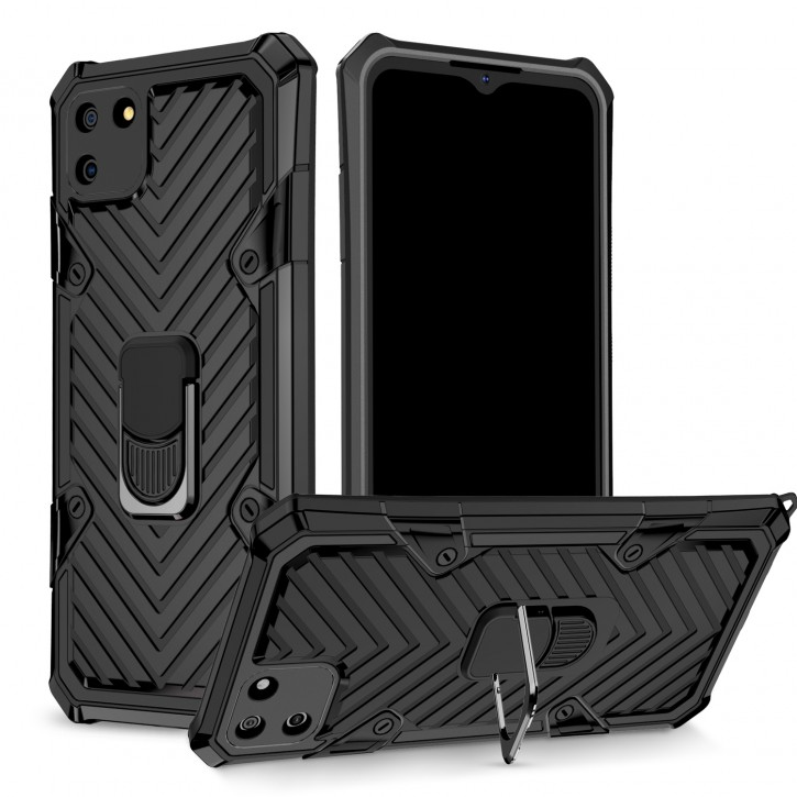 COOVY® Cover für Oppo Realme C11 Hülle Case PC + TPU-Silikon, extra stark, Anti-Shock, Stand Funktion + Haltering + Magnethalter kompatibel |