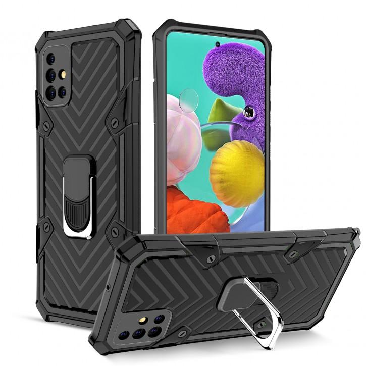 COOVY® Cover für Samsung Galaxy A51 SM-A515F/DSN Hülle Case PC + TPU-Silikon, extra stark, Anti-Shock, Stand Funktion + Haltering + Magnethalter kompatibel |