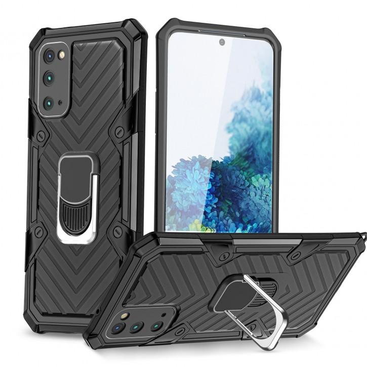 COOVY® Cover für Samsung Galaxy S20 SM-G980F/DS / SM-G981 Hülle Case PC + TPU-Silikon, extra stark, Anti-Shock, Stand Funktion + Haltering + Magnethalter kompatibel |