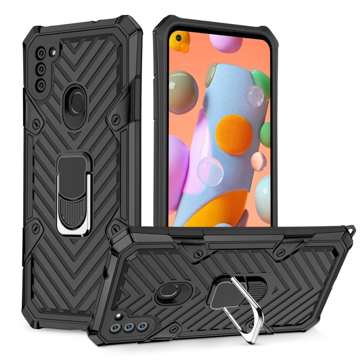 COOVY® Cover für Samsung Galaxy A11 SM-A115F/DS /  M11 SM-M115F/DSN Hülle Case PC + TPU-Silikon, extra stark, Anti-Shock, Stand Funktion + Haltering + Magnethalter kompatibel |