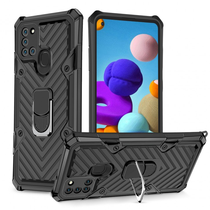 COOVY® Cover für Samsung Galaxy A21s SM-A217F/DS Hülle Case PC + TPU-Silikon, extra stark, Anti-Shock, Stand Funktion + Haltering + Magnethalter kompatibel |