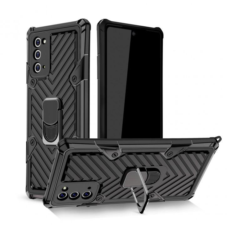 COOVY® Cover für Samsung Galaxy Note 20 SM-N980F/DS Hülle Case PC + TPU-Silikon, extra stark, Anti-Shock, Stand Funktion + Haltering + Magnethalter kompatibel |