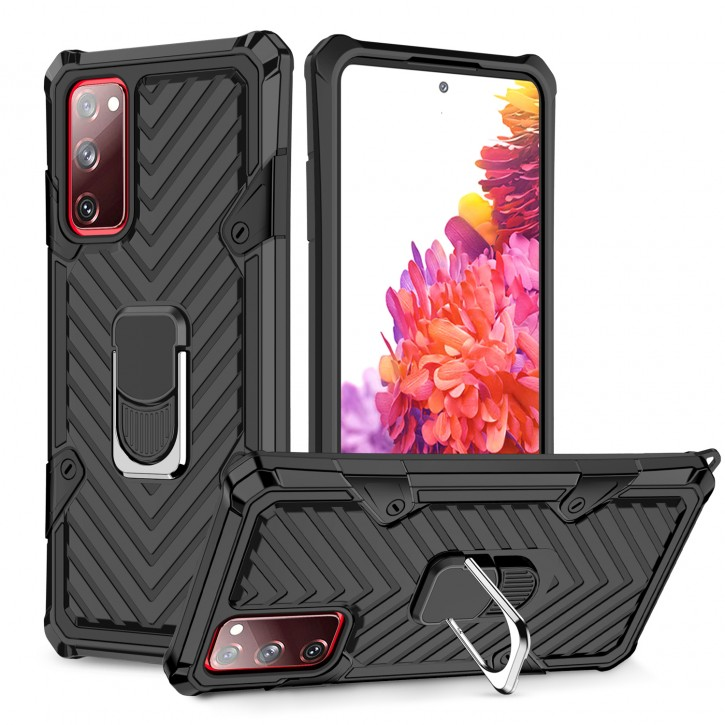 COOVY® Cover für Samsung Galaxy S20 Fan Edition SM-G781B / SM-G780F Hülle Case PC + TPU-Silikon, extra stark, Anti-Shock, Stand Funktion + Haltering + Magnethalter kompatibel |