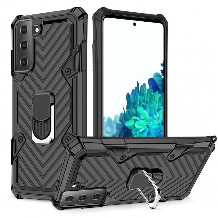 COOVY® Cover für Samsung Galaxy S21 + Plus 5G SM-G996B/DS Hülle Case PC + TPU-Silikon, extra stark, Anti-Shock, Stand Funktion + Haltering + Magnethalter kompatibel |