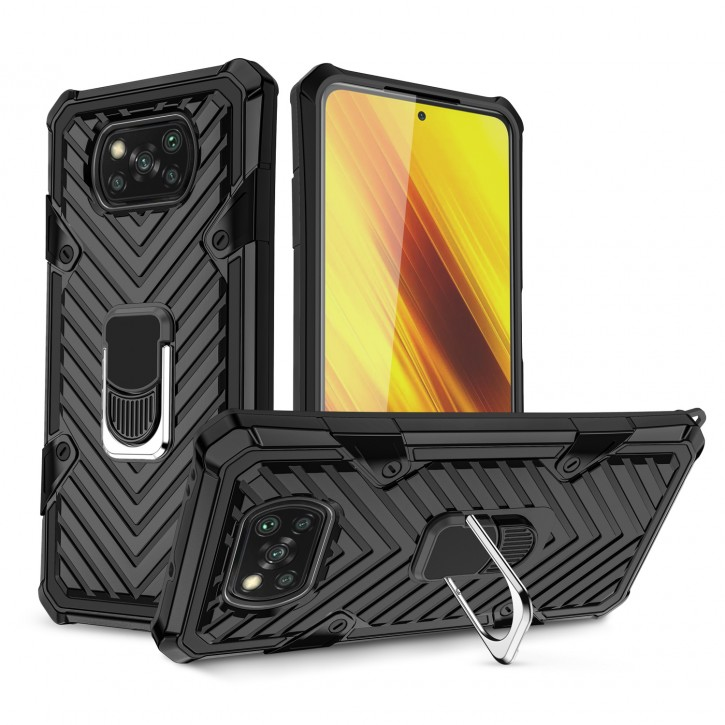 COOVY® Cover für Xiaomi Poco X3 NFC Hülle Case PC + TPU-Silikon, extra stark, Anti-Shock, Stand Funktion + Haltering + Magnethalter kompatibel |